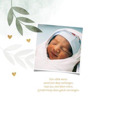 Geboortekaartje mintgroen waterverf takjes gouden hartjes 2