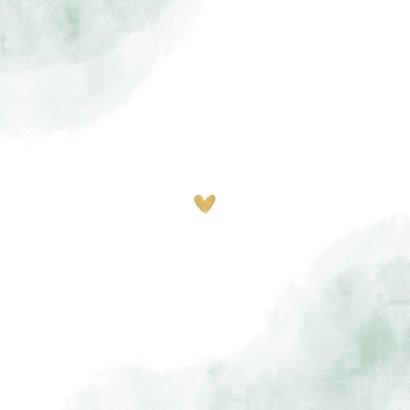 Geboortekaartje mintgroen waterverf takjes gouden hartjes Achterkant