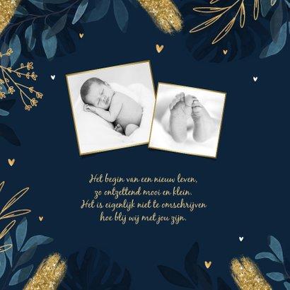 Geboortekaartje nacht jungle goud maan sterren hartjes 2