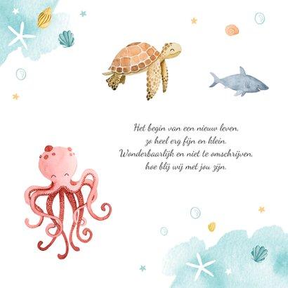 Geboortekaartje oceaan beestenboel onderwater waterverf 2