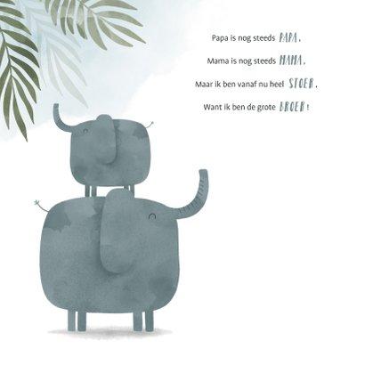 Geboortekaartje olifant broertje jungle met waterverf 2