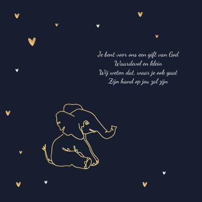 Geboortekaartje olifant jongen stijlvol goud lijntekening 2