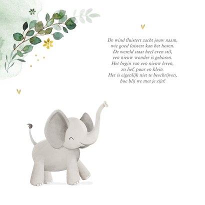 Geboortekaartje olifant jungle bloemen waterverf hartjes 2