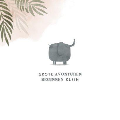 Geboortekaartje olifant jungle met roze waterverf 2