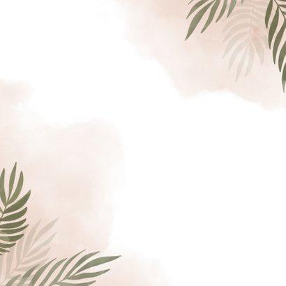 Geboortekaartje olifant jungle met roze waterverf Achterkant