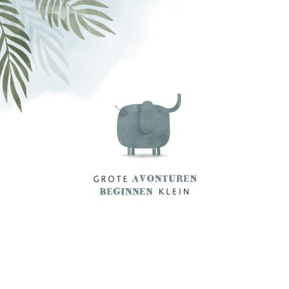 Geboortekaartje olifant jungle met waterverf 2