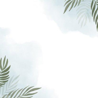 Geboortekaartje olifant jungle met waterverf Achterkant