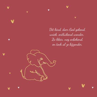 Geboortekaartje olifant meisje stijlvol goud lijntekening 2