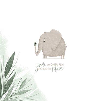 Geboortekaartje olifant met vogel en groene jungle blaadjes 2