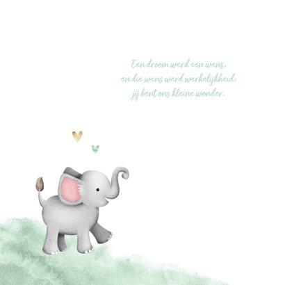 Geboortekaartje olifant mint waterverf hartjes foto 2