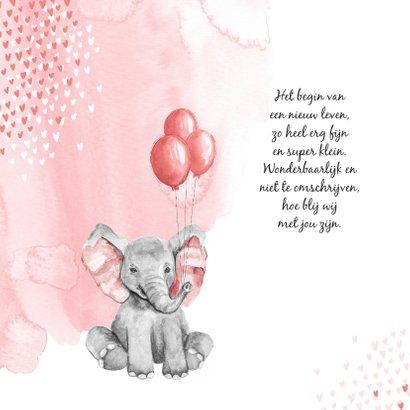 Geboortekaartje olifant waterverf hartjes roze meisje 2