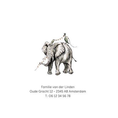 Geboortekaartje olifant waterverf vlaggen kraanvogel 2