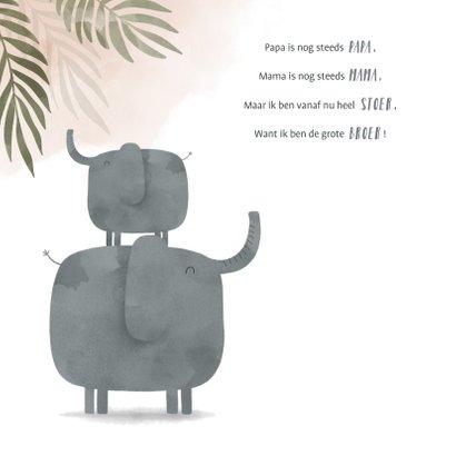 Geboortekaartje olifant zusje jungle met waterverf 2