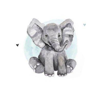 Geboortekaartje olifantje hip waterverf hartjes  2