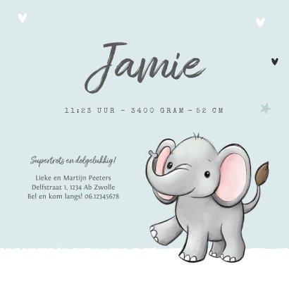 geboortekaartje olifantje unisex hartjes sterretjes 3
