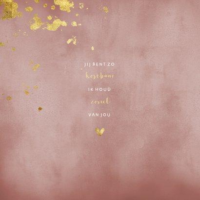 Geboortekaartje oud roze waterverf gouden spetters 2
