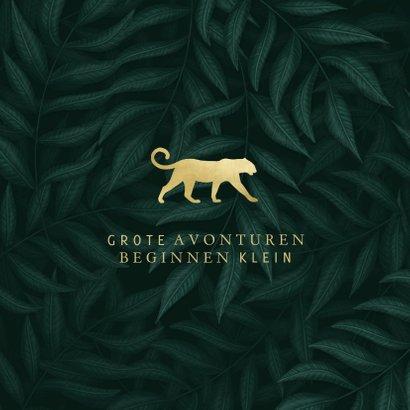 Geboortekaartje panter silhouet goud met jungle bladeren 2