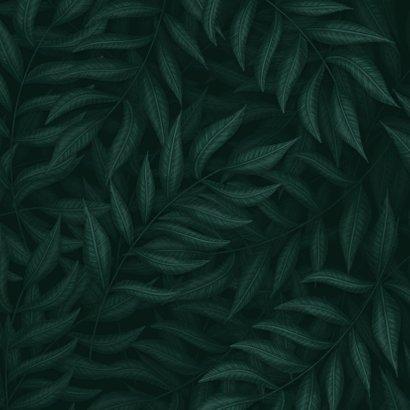 Geboortekaartje panter silhouet goud met jungle bladeren Achterkant