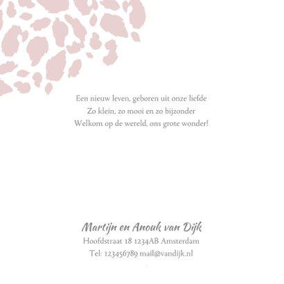 Geboortekaartje panterprint fotostrip roze  2