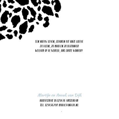 Geboortekaartje panterprint fotostrip zwart-wit  2