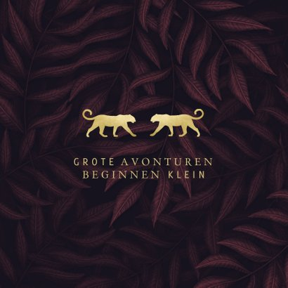 Geboortekaartje panters goud tweeling met jungle bladeren 2