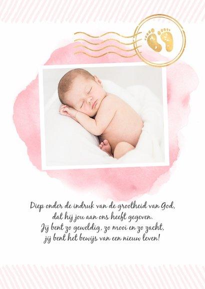 Geboortekaartje paspoort waterverf meisje stempels goud 3