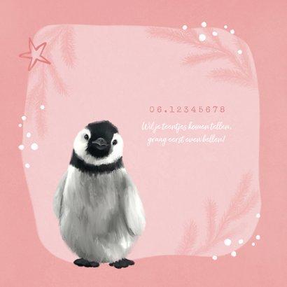 Geboortekaartje pinguin meisje sterren hartje goud 2