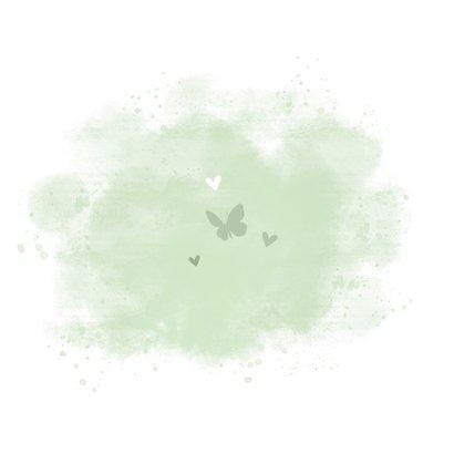 Geboortekaartje puppy groene achtegrond met hartjes vlinder Achterkant
