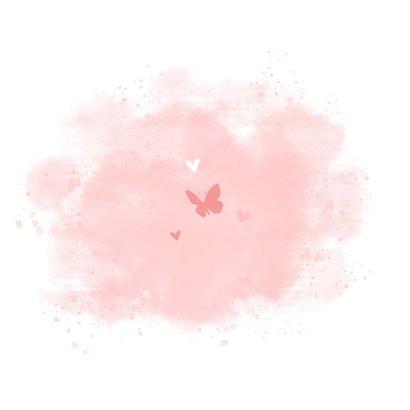 Geboortekaartje puppy roze achtegrond met hartjes vlinder Achterkant