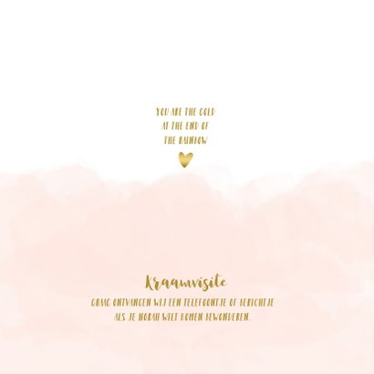 Geboortekaartje regenboog hartjes wolken roze 2