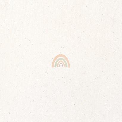 Geboortekaartje regenboog met pastelkleuren Achterkant