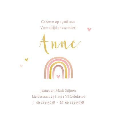 Geboortekaartje regenboog roze goudlook 3