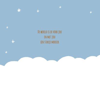Geboortekaartje regenboog wolken sterren jongen 2