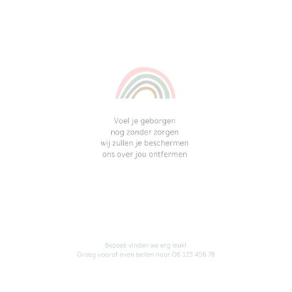 Geboortekaartje regenboogjes roze groen grijs taupe 2