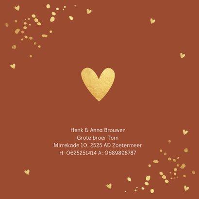 Geboortekaartje roestbruin confetti goudlook meisje 2