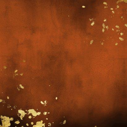Geboortekaartje roestkleurige waterverf gouden spetters Achterkant