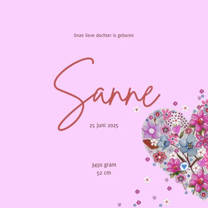 Geboortekaartje Roze Hart Bloem 3