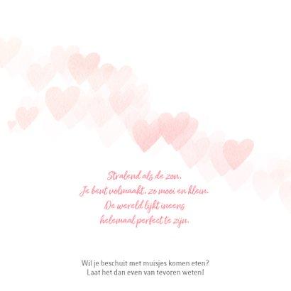 Geboortekaartje roze hartjes meisje 2