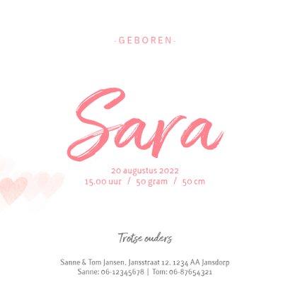 Geboortekaartje roze hartjes meisje 3