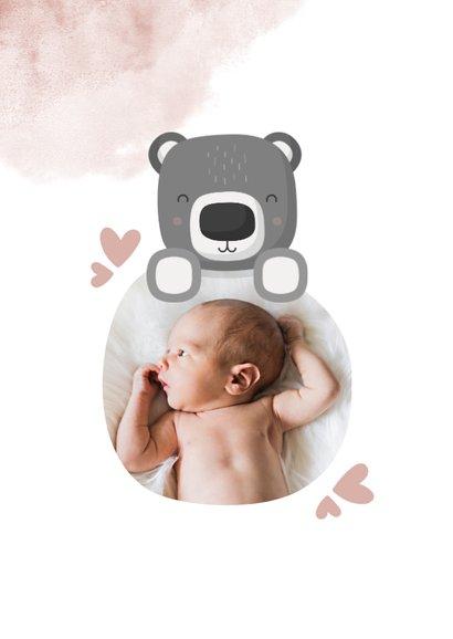 Geboortekaartje roze met foto, beer en waterverf 2