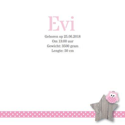Geboortekaartje roze uiltje boom 3