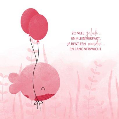 Geboortekaartje roze walvis met ballonnen en waterverf 2