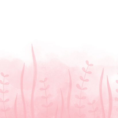 Geboortekaartje roze walvis met ballonnen en waterverf Achterkant