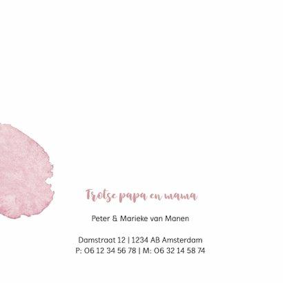 Geboortekaartje roze watercolor 2