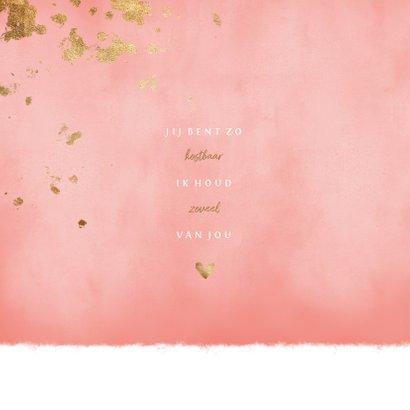 Geboortekaartje roze waterverf gouden spetters 2