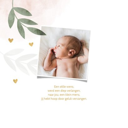 Geboortekaartje roze waterverf takjes gouden hartjes 2