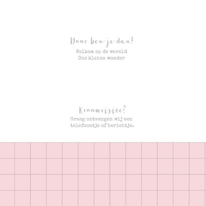 Geboortekaartje ruitpatroon foto's roze  2