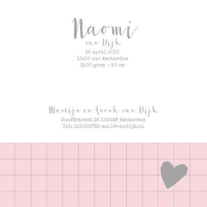 Geboortekaartje ruitpatroon foto's roze  3