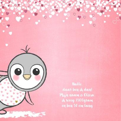 Geboortekaartje schattig roze kaartje met lieve baby pinguïn 2