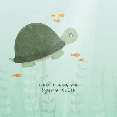 Geboortekaartje schildpad onderwater met visjes 2